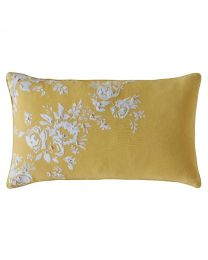 Vintage Yellow Embroidered Cushion