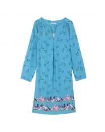 Sketched Chickens Viscose Twill Tunic Dress