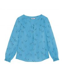 Sketched Chickens Viscose Twill Blouse