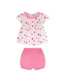Strawberry Ditsy Baby Blouse and Bloomer Set
