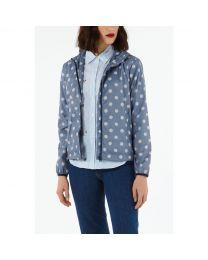 Button Spot Twill Short Raincoat