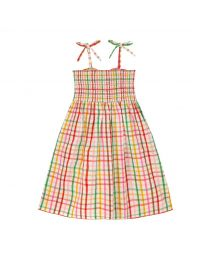 Strawberry Gingham Kids Midi Dress