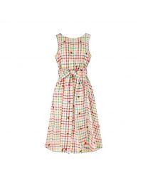 Strawberry Gingham Embroidered Tie Waist Dress