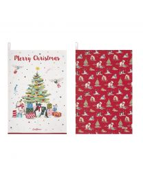 Festive Party Animals Set of Two Tea Towels
