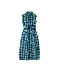 Flower Power Gingham Tie Waist Shirt Dress