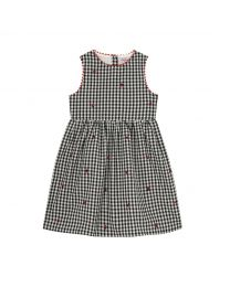 Ladybug Gingham Kids Embroidered Charlotte Dress