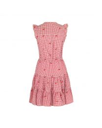 Small Gingham Frill Sleeve Tiered Dress