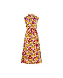 Small Painted Fruit Sleeveless Midi Shirt Dress