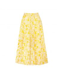 Painted Woodblock Button-through Midi Skirt