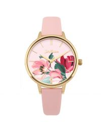 Paintbox Flowers Pale Pink Leather Watch
