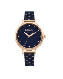 Navy with Rose Gold Polka Dots Stainless Steel Mesh Watch