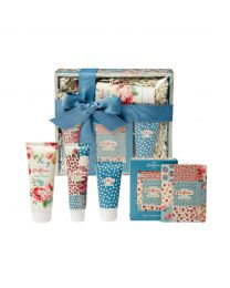 Cottage Patchwork Pamper Hamper (100ml Hand Cream, 50ml Body Srub, Box Set of four Bathing Salts, 75ml Body Wash)